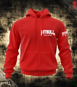 Pit Bull Believe [Stonger than Ever] Piros zipp. pulóver